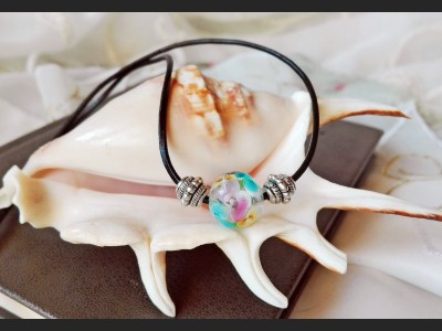 Boho Lampwork Leather Necklace
