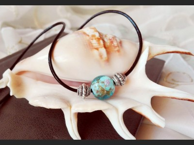Boho Lampwork Leather Necklace - Blue