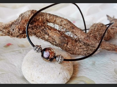 Boho Lampwork Leather Necklace - Black