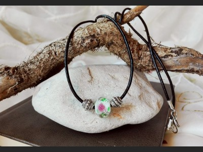 Boho Lampwork Leather Necklace - White
