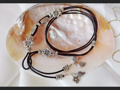 Antique Silver Flower Boho Leather Necklace