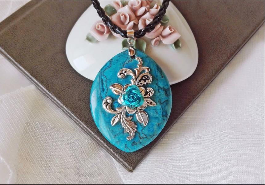 Victorian Style Blue Jasper Necklace