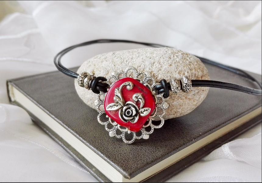 Victorian Coral Choker Necklace