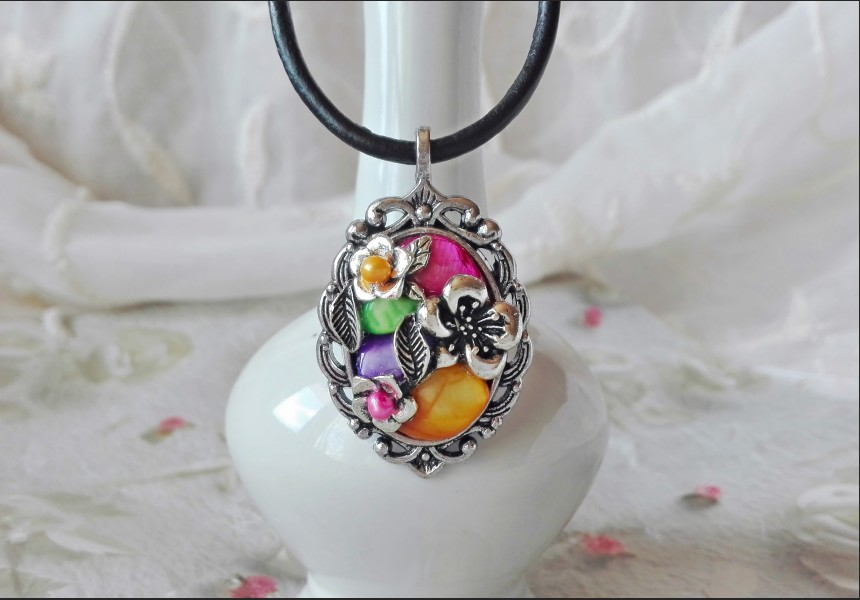 Rainbow Vintage Victorian Style Necklace