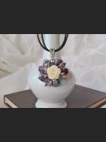 Fluorite Vintage Flower Necklace