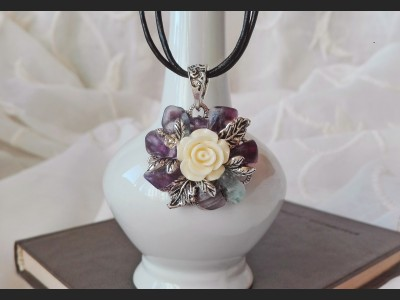 Fluorite Vintage Flower Necklace