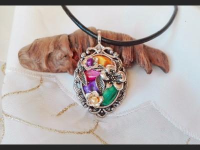 Rainbow Multicolor Victorian Style Necklace