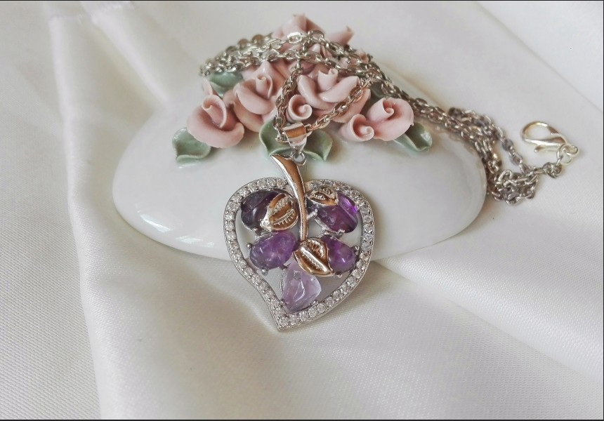 Vintage Style Amethyst and Zirconia Leaf Necklace