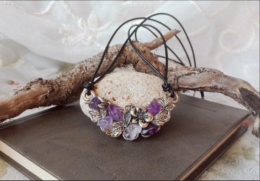 Amethyst Flower Vintage Necklace
