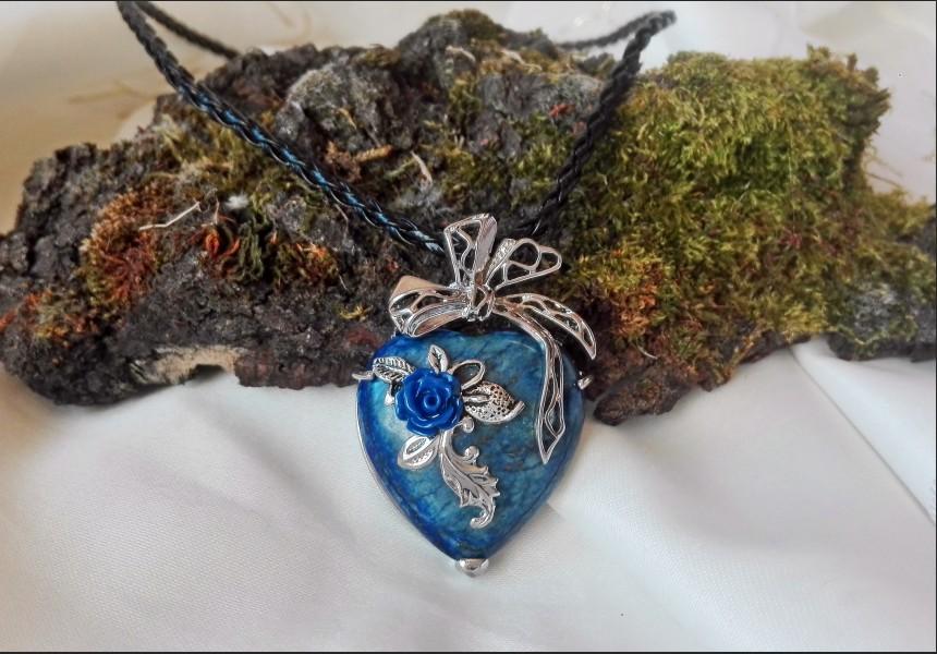 Sodalite Heart Vintage Necklace