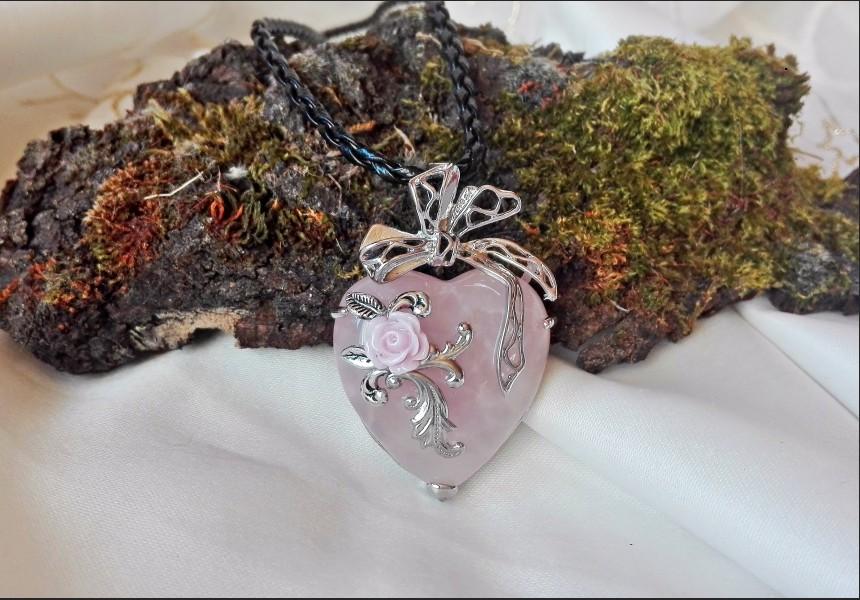 Rose Quartz Heart Vintage Necklace
