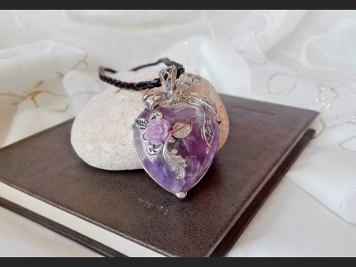 Purple Amethyst Heart Vintage Necklace