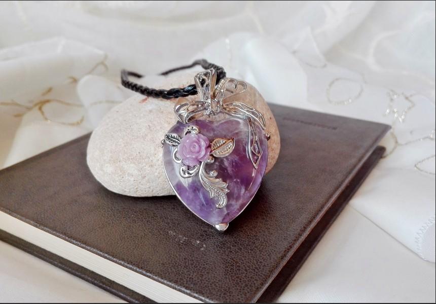 Purple Amethyst Heart Vintage Necklace