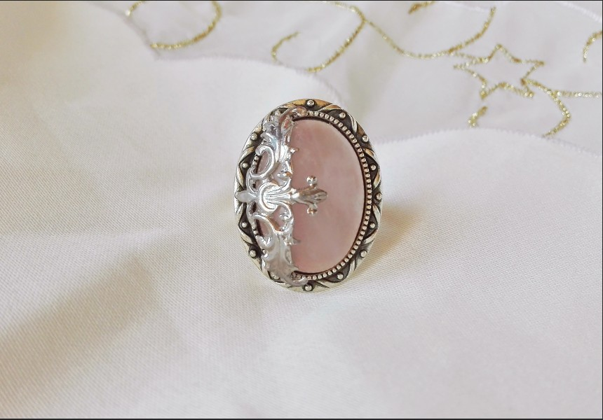 Rose Quartz Victorian Ring